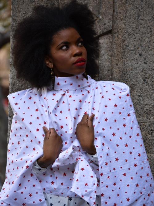 Poncho/Cape With Attached Scarf - White And Red Stars