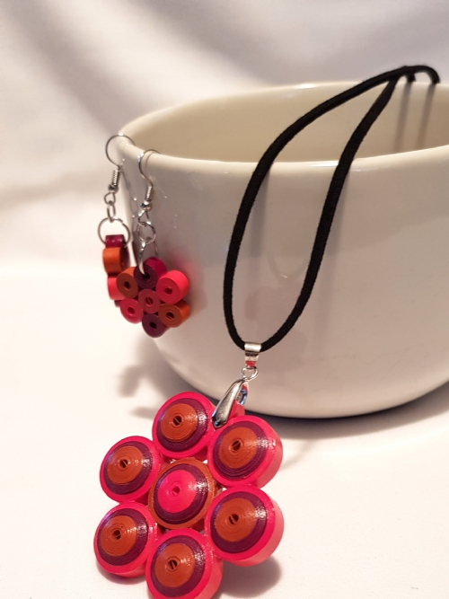Quilling Flower Earring & Necklace Set