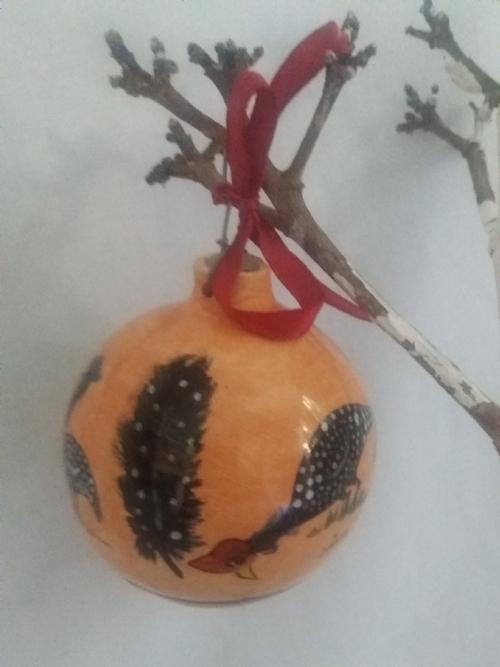 Hanging Ornament Guinea Fowl Natural