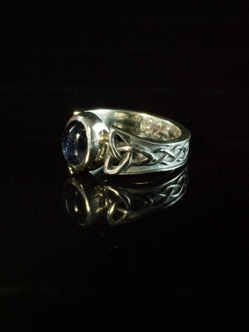 Celtic Trinity Knot Ring with Oval Iolite