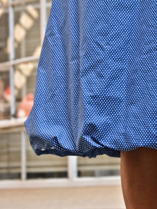 Balloon Skirt - Blue And White Dots