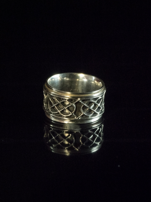 Reverse Dome Ring with Open Celtic Knot