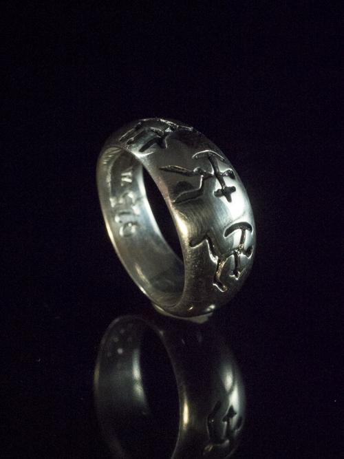 Three Bushmen Solid Ring