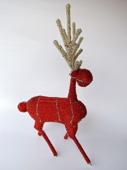 Reindeer With Beaded Antlers - Large