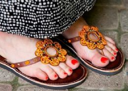 Beaded Sandals, Plain Leather Sandals