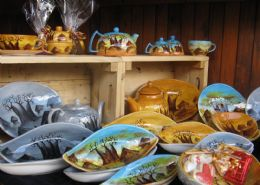 Handprinted ceramic plates, cups, bowls etc.