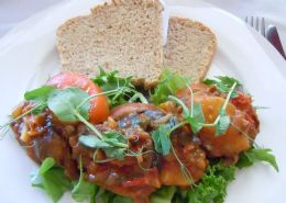 Veggie sandwich-Brinjal, sweet potatoe and lentil open sandwich with homemade brown bread and pea shoots.