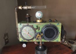 Steam Punk lamp with bluetooth radio