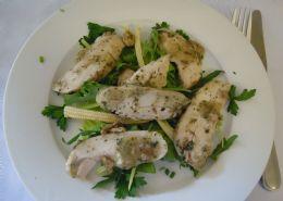 Chicken sage salad on lettuce, Rocket, Corn & Leek in a Sage dressing.