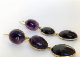 9ct Gold & Amethyst Drop Earrings
