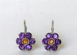 18ct White gold, Amethyst and Citrine drop earrings